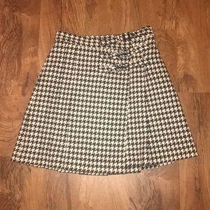 Kate Spade houndstooth wool pleated skirt kilt 8
